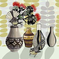 Crown Lynn - Bold, Pohutukawa Waitangi Day, Kiwiana, Stone Painting, Kitsch, New Zealand, Fine Art Prints, Illustration Art, Pottery, Crown