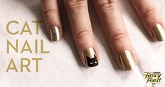 DIY: Cat Nail Art fancy black cat nail....looks very easy but don't know if i could do it on myself! wish i had someplace fancy to go to do this!