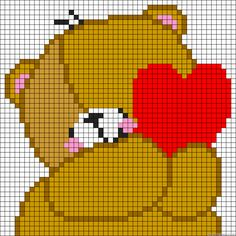 Teddy Love heart perler bead pattern