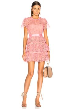Image 1 of self-portrait Pink Tiered Lace Mini Dress in Pink