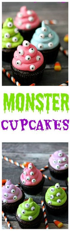 Monster Cupcakes so easy to make and the perfect Halloween treat! Monster Cupcakes so easy to make and the perfect Halloween treat! Essen Halloween Party, Fete Halloween, Halloween Food For Party, Holidays Halloween, Halloween Kids, Baby Shower Halloween, Halloween Birthday Cakes, Halloween Eyeballs, Halloween Quotes
