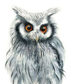 Owl Watercolor Painting - Giclee Print - Home Wall Decor - Bird Watercolor Illustration. Owl Watercolor, Watercolor Animals, Watercolor Illustration, Watercolor Paintings, Watercolors, Watercolour Tips, Owl Art, Bird Art, Anime Drawings Sketches