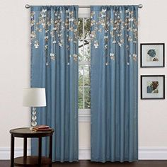 84 Inch Blue Faux Silk Flower Drop Curtain Single Panel Dark Blue Window Rod Pocket Drapes Puckered Tufted Texture Pattern Floral Pattern Stylish