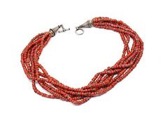 "UNSIGNED Beautiful Tribal Coral/Silver 6 Strand Necklace - South America - 16"" #Handmade #StrandString"