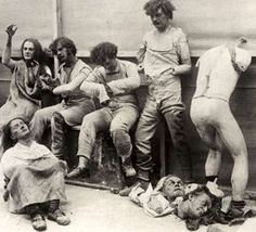 Melted and damaged mannequins after a fire in the Madame Tussaud Wax Museum in London, 1930. Totally  creepy!!