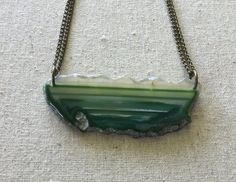 Hand Drilled Green Agate Slice Necklace by ArcherPlusHare on Etsy