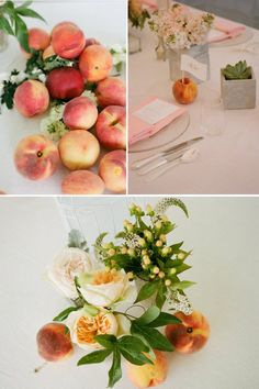 Sweet and Unique Wedding Centerpiece Idea | OneWed  Love the idea of using fresh fruit as an accent.