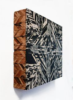 "Raanu II  (view 2)- 2014relief print collage on panel, acrylic paint, and reclaimed wood 13"" x 12"" x 3"" © Aili Schmeltz"