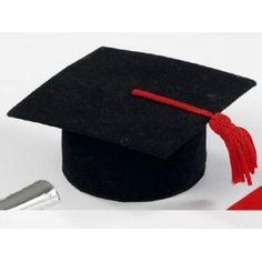 Tocco laurea nero in vellutino portaconfetti