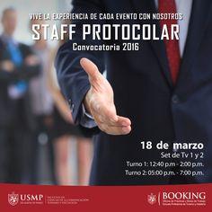 #ConvocatoriaFCCTP | ¿Eres proactivo, ávido de aprender y tienes disposición de servicio? Hoy tienes la oportunidad de pertenecer al Staff Protocolar de la USMP. ¡Te esperamos!