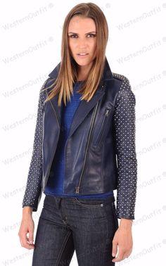 Womens Genuine Lambskin Leather Motorcycle Slim fit Designer Biker Jacket NY131 #Handmade #Motorcycle #Outdoor