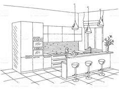 Interior Architecture Drawing, Interior Design Renderings, Architecture Sketchbook, Interior Sketch, Best Kitchen Layout, Kitchen Layout Plans, Best Kitchen Designs, Home Decor Kitchen, Kitchen Interior