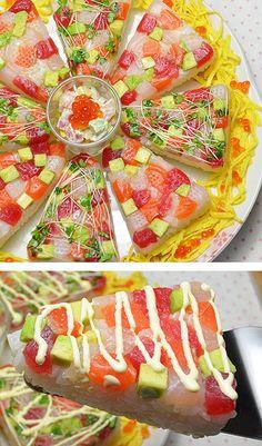 誕生日や記念日に♡豪華で華やかな「#寿司ケーキ」が大人気 - Locari(ロカリ) Sushi Recipes, Sashimi, Food Presentation, I Love Food, Kids Meals, Keep It Cleaner, Catering, Sweets, Cooking