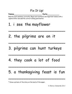 January Kindergarten Worksheets | Punctuation, Sentences and ...