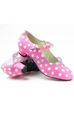 Zapatos para Flamenco Color Rosa y Lunares Blancos - Tallas para Niña y Mujer