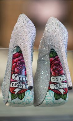 Til Death - Silver Taylor Says ~ New styles from Taylor Says! #weddingShoes #wedding16 #ss16 #ootd Say your vows in a unique way and light up the aisle. Till Death by Taylor Says features a silver fabric upper with glistening rhinestones to capture your special moment. A 6 inch heel and 1 inch platform showcase the vibrant and colorful sole which boasts beautiful flowers and Till Death Do Us Part written on top.