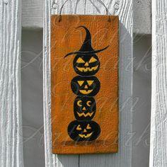 Primitive Halloween Folk Art Painting | Original Primitive Folk Art Halloween by PrimitiveHalloween