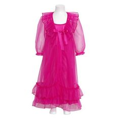 Laura Dare Girls 10 Fuchsia Frilly Peignoir 2pc Robe Nightgown Set. 2pc set. Sheer Robe and nightgown.
