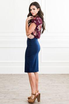 W2093 - Pencil Skirt Work Fashion, Modest Fashion, Fashion Outfits, Woman Outfits, Modest Skirts, Modest Outfits, Stretch Pencil Skirt, Formal, Timeless Fashion