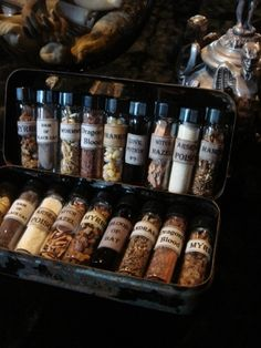 strangerains: { Little Vials of Herbs, Roots and More via Gothic Rose Antiques. Bar Medieval, Kitchen Witchery, Potion Bottle, Witch Aesthetic, Book Of Shadows, Practical Magic, Occult, Witchcraft, Spelling