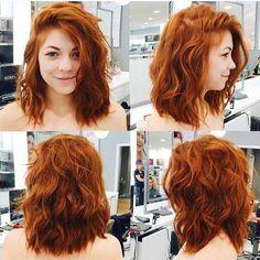 Kupferhaar muss sein # Make Up Hair Styling - Haar Styling - Haarfarben Medium Hair Styles, Curly Hair Styles, Medium Length Wavy Hairstyles, Ginger Hair Color, Ginger Hair Dyed, Short Hair Cuts, Short Red Hair, Medium Red Hair, Short Pixie