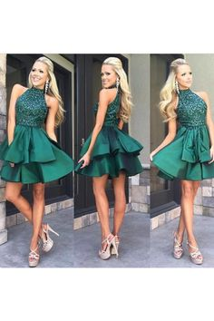 28cf857b812 Green high neck sequin beaded short prom dress