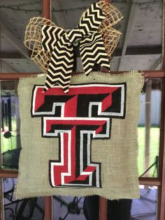 Burlap painted Texas Tech door hanger by NicoleJordandesigns