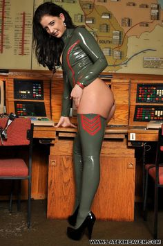 Army green latex bodysuit