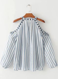 Shop Round Neck Off shoulder Hollow out Striped Blouse at victoriaswing, personal womens clothing online store! high quality, cheap and big discount, latest fashional style!