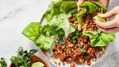 SPICY CHICKEN LETTUCE WRAPS - Low investment and high reward, this not-so-traditional larb is the unofficial late-night meal of much of the BA staff. Lettuce Wrap Recipes, Chicken Lettuce Wraps, Lettuce Cups, Chicken Tacos, 21 Day Fix, Sin Gluten, Gluten Free, Bon Appetit, Healthy Chicken