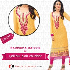 10% off Karishma Kapoor in yellow and pink color combination churidar Shop from: http://goo.gl/M7a2bL