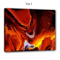 Naruto, Canvas Art, Anime, Manga, Kyuubi, Wall Art, Anime Canvas, Kawaii, Otaku, Kurama, Minato, Nine Tails Fox, Demon, Uzumaki, Shippuden