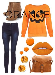 """""""Orange Fall"""" by ekjohnson1216 ❤ liked on Polyvore featuring Nine West, Topshop and Lime Crime"""
