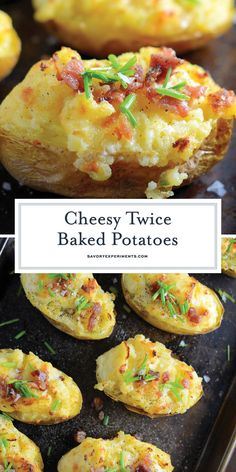 Cheesy Twice Baked Potatoes are velvety, buttery and cheesy- the perfect trifecta of potato perfection and the ultimate potato side dish! #potatosidedishes #twicebakedpotatoes #cheesypotatoes www.savoryexperiments.com