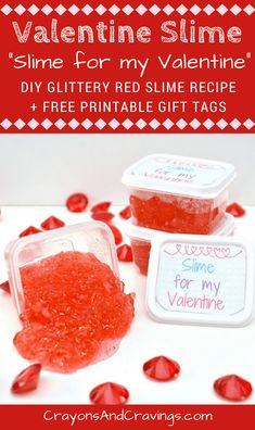 Make fun Valentines for the class with this easy DIY Valentine Slime recipe and these fun Valentine printable gift tags. These are perfect for the kids to give out to their classmates or friends this Valentine's Day! #ValentinesDay #ValentinesGift #valentine #slime