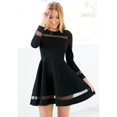 Black Mesh Panel Skater Dress Lookbook Store ($29) ❤ liked on Polyvore featuring dresses, mesh insert dress, lbd dress, little black dress, skater dress and mesh panel skater dress