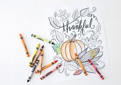 Free Thanksgiving coloring page download - great for adults and kids alike!