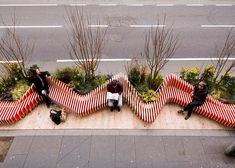 WMBstudio has designed and installed 'parked bench'– a temporary parklet located on a busy street in the london bridge area. the portable micro-park replaces two standard car parking spaces, with the aim of providing urban greening, public seating, and to raise awareness of air quality issues in the capital. the approach was to create a singular sculptural seating element around which zones of planting and small pockets of public space