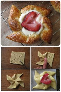 cake recipes diy desserts. No recipe but seems simple enough, sweetened cream cheese and a strawberry on puff pastry. Would be fun for quilt guild