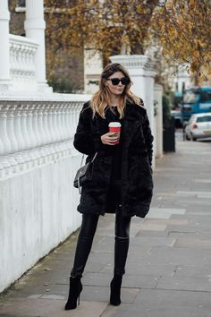Dress up or down this black faux fur coat. Wear it with sneakers or high heel boots. 🖤 Mid-length Black Faux Fur Coat with pockets on the side. Fur Coat Outfit, Today's Outfit, Outfit Ideas, Black Faux Fur Coat, Winter Fur Coats, All Black Outfit, Outfit Posts, Fall Fashion, Fashion Shoot
