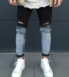 Black Light Grey Distressed Jeans via Loyalkids's Shop. Click on the image to see more!
