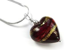 Murano Glass Heart Pendant Necklace - Ruby Gold Heart Pendant Necklace, Glass Necklace, Murano Glass, Sterling Silver Jewelry, Hearts, Chain, Dark, Gold, Necklaces