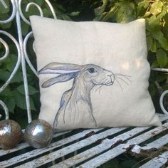 East facing hare cushion cover. by TheSpeculatingRook on Etsy