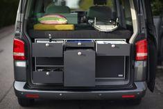 VanEssa Mobilcamping V1 Kitchen with 35L Fridge for Volkswagen T5/T6 Multivan Short Wheel Base /Long Wheel Base  VanEssa mobilcamping is Germany's leading manufacturer of lightweight modular camping cabinetry for Volkswagen vans.