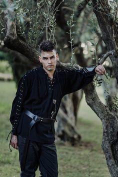 Men's Renaissance Costume, Steampunk, Cosplay, Fantasy, Oversized Shirt, Larp, How To Know, Black Cotton, Soft Fabrics