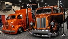 Big rig custom car haulers on the vintage side... man those are nice and rare body styles.