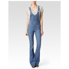 Paige Rialta High Rise Flare Overall - Edgecliffe ($299) ❤ liked on Polyvore featuring jumpsuits, edgecliffe, overalls jumpsuit, high waisted overalls, white jump suit, white overalls and vintage overalls