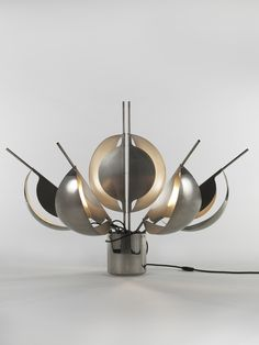 Jean-Pierre Vitrac Flower Lamp, 1970 Chrome metal and stainless steel H x 13 x 13 inches 141 H x 33 x 33 cm Edition Verre Lumiere