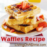 Easy homemade waffles from scratch! Our family's favorite! Looking for an easy and inexpensive waffle for breakfast? You can mix up these homemade waffles in just 5 minutes for less than $1 for the entire family! Click here to get this yummy #recipe from Dining On A Dime Cookbook http://www.livingonadime.com/store/dining-on-a-dime-cookbook/ .