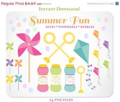 24 Design Elements - Kites, Bubbles, Bubble Wands, and Pinwheels- Hand Drawn Graphics perfect for Scrapbooking or Embellishing your Blog https://www.etsy.com/listing/153541314